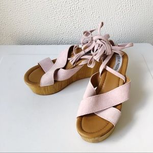 Steve Madden | Light Pink Suede Lace Up Wood Wedge
